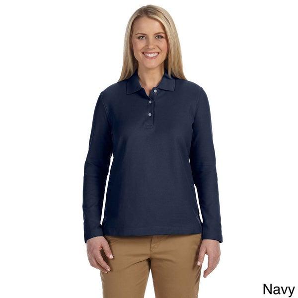 Women's Pima Piquù Long-sleeve Polo Shirt - Overstock - 9051349