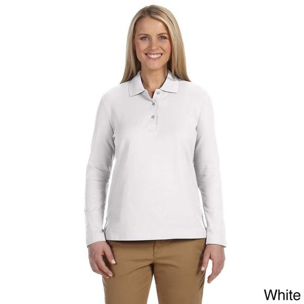 Shop Women s Pima Piquù Long-sleeve Polo Shirt - On Sale - Free ... 51924b68d