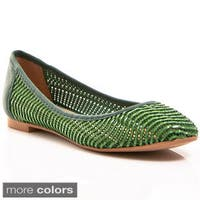 Nvy Women's Weaved Upper Almond Toe Slip-on Flats