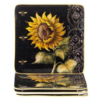 Certified International French Sunflowers Dessert Plates, Set of 4