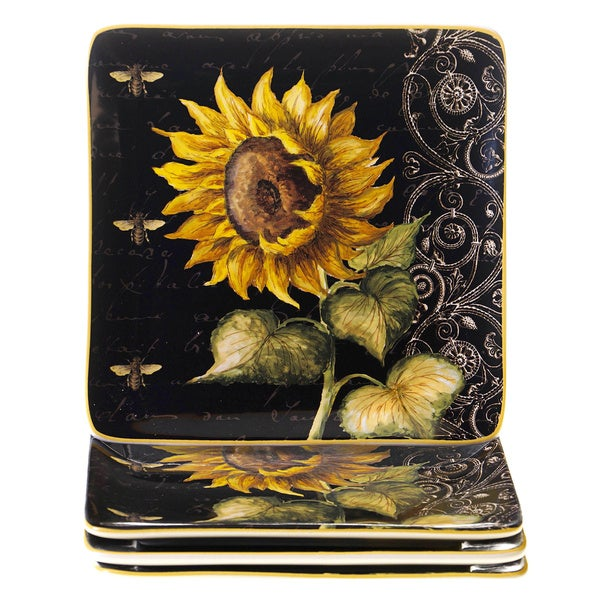 French Sunflowers 8.25-inch Salad/ Dessert Plate (Set of 4)