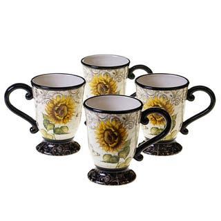 Certified International French Sunflowers 16-ounce Mugs, Set of 4