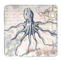 Hand-painted Coastal Postcards 12.25-inch Square Ceramic Serving Platter