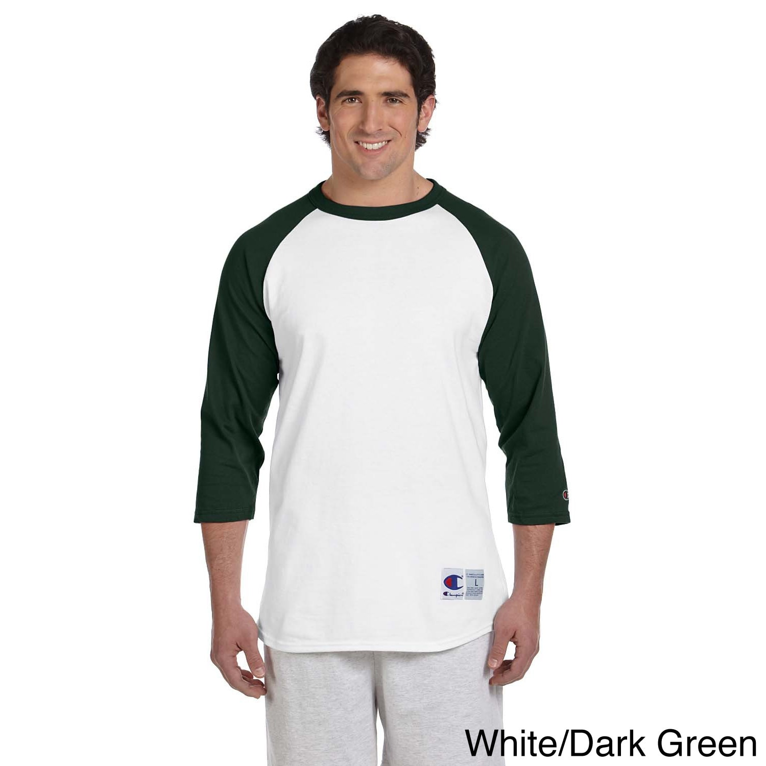 Champion Men's Tagless Raglan Baseball T-shirt (XL,White/...