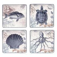 Coastal Postcards 10.5-inch Assorted Dinner Plates (Set of 4)