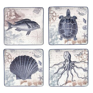 Coastal Postcards 10.5-inch Assorted Dinner Plates (Set of 4)