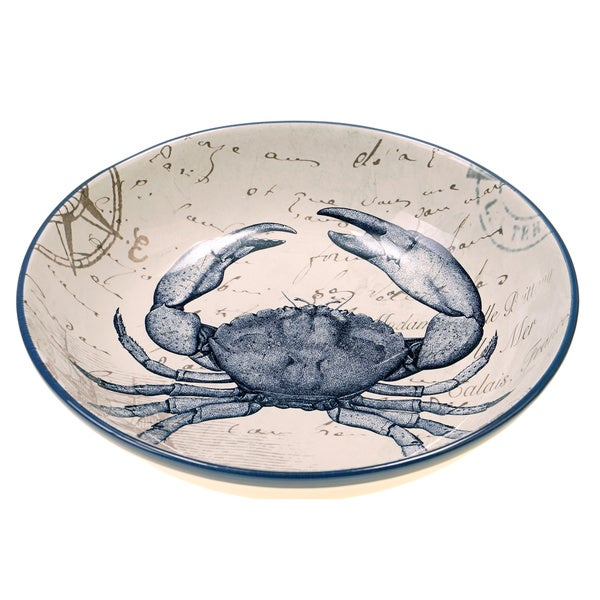 Coastal Postcard 13 25 Inch Ceramic Serving Pasta Bowl