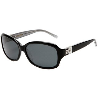 Kate Spade Women's 'Annika JBHP' Black/ Silver Sparkles Polarized Sunglasses - Black - Large