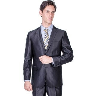 Men's Slim Fit Black Shiny 2-button Suit