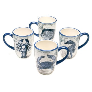 Coastal Postcards 20-ounce Assorted Mugs (Set of 4)