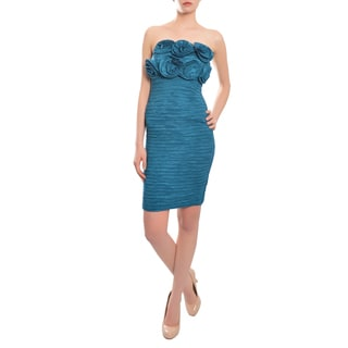 Romeo & Juliet Couture Women's Teal Rosette Strapless Cocktail Dress