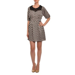 Moon Collection Women's Black/ Blush Polka Dot Dress (As Is Item)