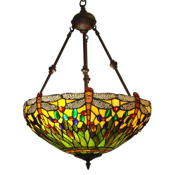 amora lighting tiffany style dragonfly design 2 light pendant lamp. Black Bedroom Furniture Sets. Home Design Ideas
