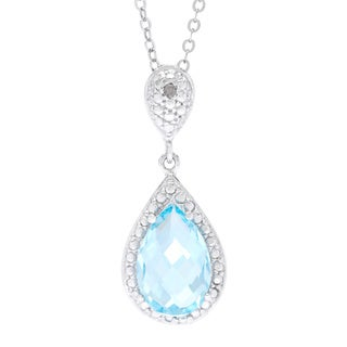 La Preciosa Sterling Silver Blue Topaz and White Diamond Accent Teardrop Pendant Necklace