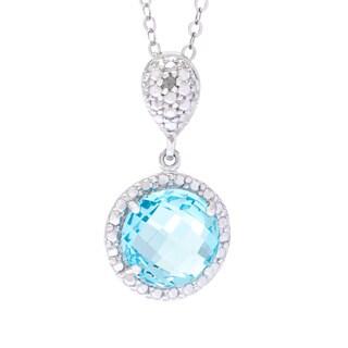 La Preciosa Sterling Silver Diamond Accent and Blue Topaz Circle Necklace