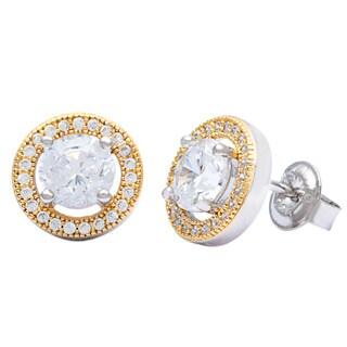 La Preciosa Sterling Silver Two-tone Micro Pave Cubic Zirconia Circle Stud Earrings