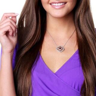 La Preciosa Sterling Silver 1/10ct TDW White Diamond and Gemstone Necklace (I-J, I2-I3)