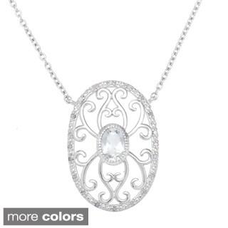 La Preciosa Sterling Silver 1/10ct TDW Diamond/ Gemstone Filigree Oval Necklace (I-J, I2-I3)