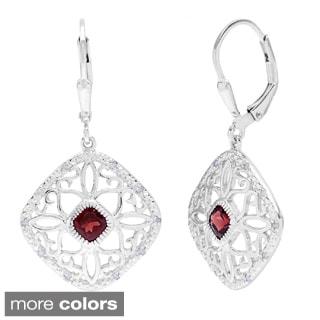 La Preciosa Sterling Silver 1/10ct TDW Diamond and Gemstone Filigree Dangle Earrings (I-J, I2-I3)