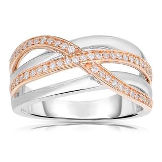 Eloquence 14k White/ Rose Gold 1/4ct TDW Woven Diamond Ring (H-I, I1-I2)