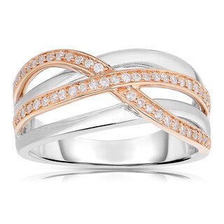 Eloquence 14k White/ Rose Gold 1/4ct TDW Woven Diamond Ring