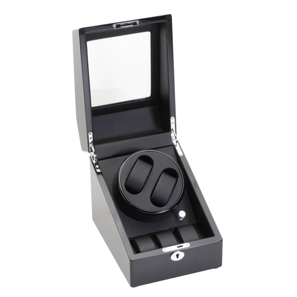 Diplomat Gothica Black Double Watch Winder with Storage Drawer