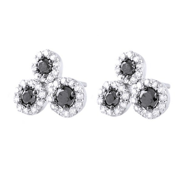 10k White Gold 2/5ct TDW Black and White 3-stone Diamond Earrings