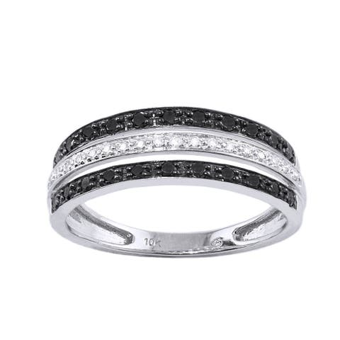 10k White Gold 1/3ct TDW Black and White Multi-Row Diamond Band Ring