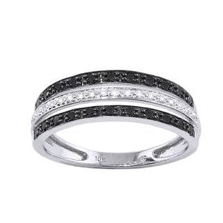 Beverly Hills Charm 10k White Gold 1/3ct TDW Black and White Multi-row Diamond Band Ring