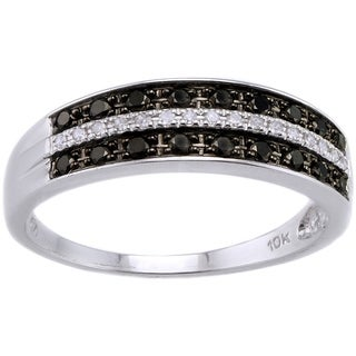 10k White Gold 1/4ct TDW Black/ White Diamond Ring