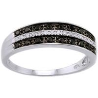 10k White Gold 1/4ct TDW Black and White Diamond Band Ring