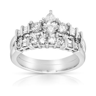Eloquence 14k White Gold 1ct TDW Diamond Marquise Bridal Ring Set