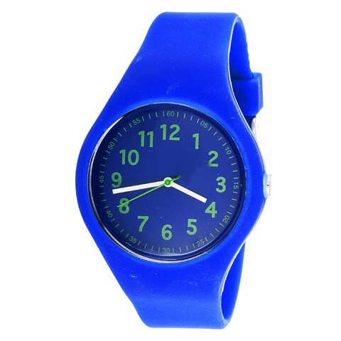 Pop Kids' Round Rubber Navy Blue Sport Watch