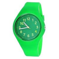 Pop Kids' Round Rubber Green Sport Watch