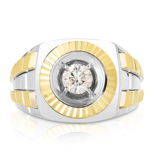 Eloquence 10k Two-tone Gold 3/4ct TWD Men's Bezel Set Diamond Ring (L-M, SI1-SI2)