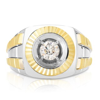 Eloquence 10k Two-tone Gold 3/4ct TWD Men's Bezel Set Diamond Ring