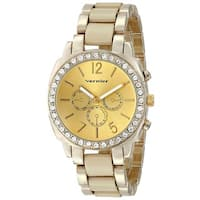 Vernier Women's Stone Bezel Goldtone Bone Resin Watch