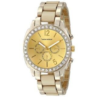 Vernier Women's Stone Bezel Goldtone Bone Resin Watch