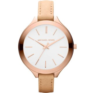 Michael Kors Women's MK2284 Runway Slim Beige Strap Watch