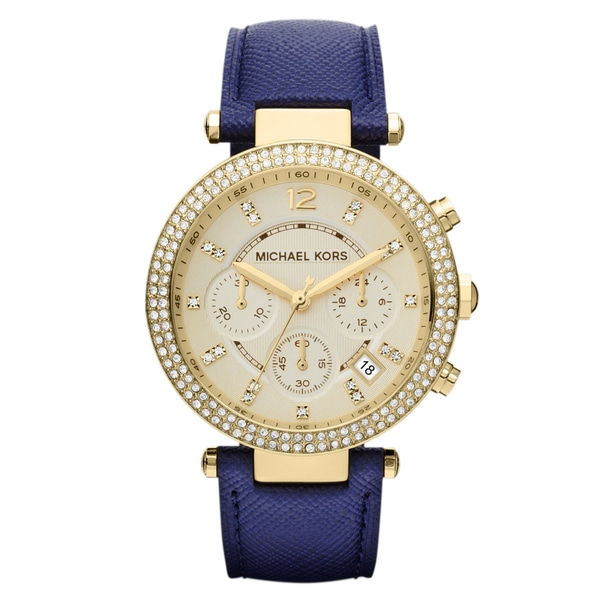 Michael Kors Women's MK2280 Parker Goldtone Navy Blue Leather Watch