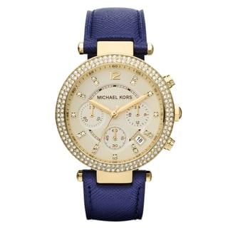 Michael Kors Women's MK2280 Parker Goldtone Navy Blue Leather Watch https://ak1.ostkcdn.com/images/products/9051728/P16247905.jpg?impolicy=medium