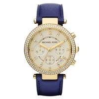 Michael Kors Women's  Parker Goldtone/ Navy Leather Watch - brown