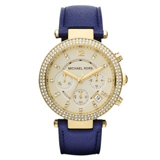 Michael Kors Women's Parker Goldtone/ Navy Leather Watch - brown