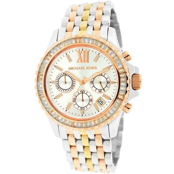 b89cdaa3ad0 Shop Michael Kors Women s MK5876 Everest Mid-size Tri-tone Watch ...