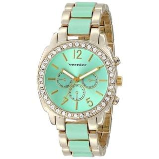 Vernier Women's Stone Bezel Goldtone Green Resin Link Watch