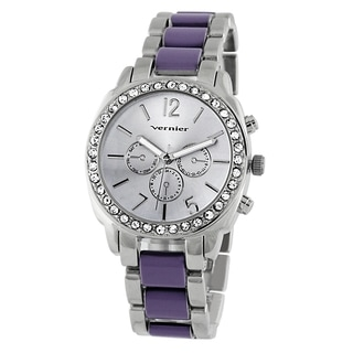 Vernier Women's Stone Bezel Purple Resin Link Watch