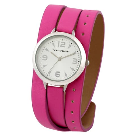 Vernier Women's Pink Triple Wrap Strap Watch