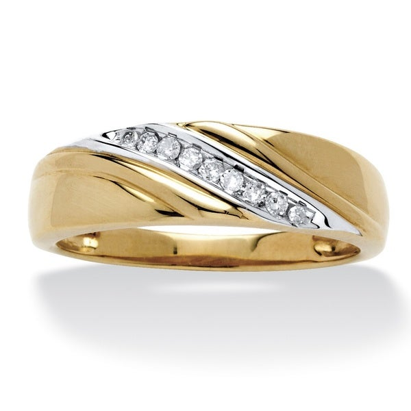 Men's 10k Gold 1/8 TCW Round Diamond Diagonal Ring