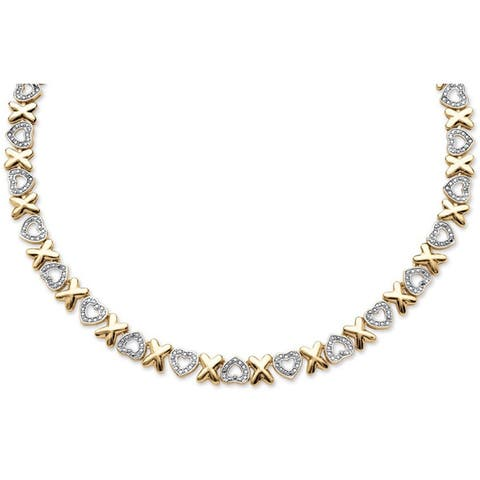 Yellow Gold-Plated Genuine Diamond, Hearts and Kisses Collar Necklace (1/10 cttw) (IJ Color, I2-I3 Clarity)