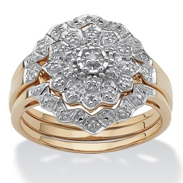 1/7 TCW Round Diamond Three-Piece Cluster Bridal Set in 14k Yellow Gold over Sterling Silv